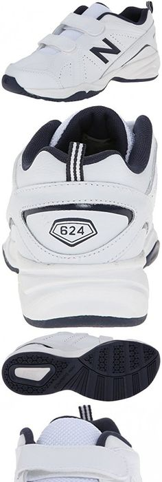 New Balance KV624 Youth Hook and Loop Training Shoe (Little Kid/Big Kid), White/Navy, 28 W EU