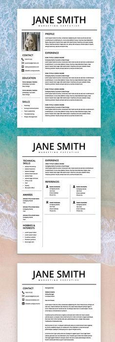 Professional Resume Template Cover Letter for MS Word Modern CV - best of leave letter format in doc