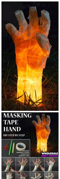 DIY Masking Tape Hand Prop Decoration, Tutorials and Create - halloween party decorations cheap
