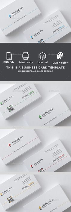 Clean Business Card Template | Corporate business, Card templates ...