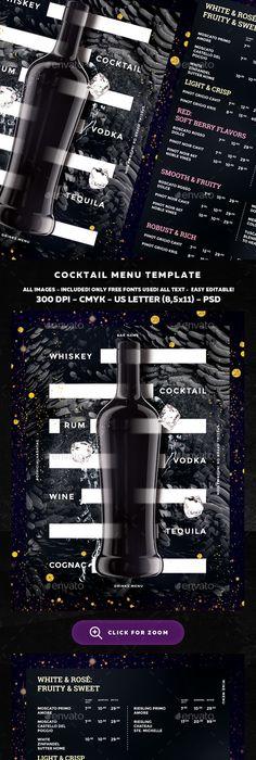 Cocktail Drinks Menu  Drink Menu Menu And Food Menu