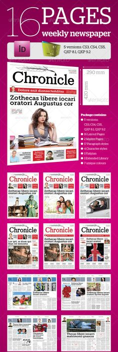 Newspaper Template Newsletter Template Indesign Indd Download