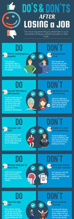 Career Infographic U0026 Advice Dou0027s And Donu0027ts After Losing A Job   Infographic. Image Description Dou0027s And Donu0027ts After Losing A Job  Infogr