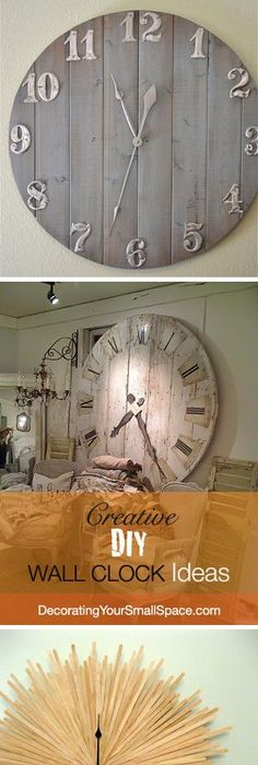 Creative DIY Wall Clock Ideas I Ll Be Honest I Only Like The Last How To  Make A Round Table Top Clocks And Clocks. Ingenious ...