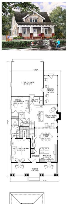 House Plan chp-38703   Bedrooms, House and Small house plans
