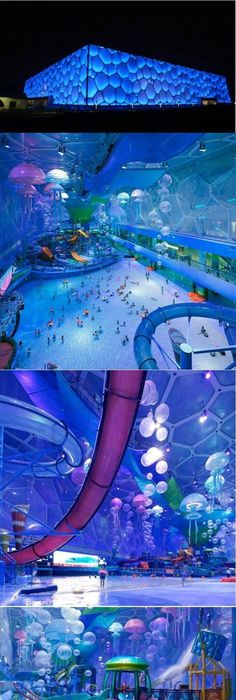 The China Olympic Cube Turned Into An Indoor Water Park. SO COOL! Nice Ideas