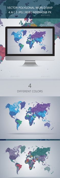 Free World Map Vector Mock-ups  Templates Print\web design - new world map software download for mobile