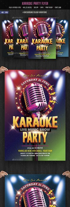 Karaoke Night Flyer Template  Beach    Flyer Template