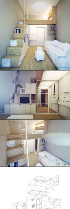 Mezzanine pour chambre côté rue rangement sous dans escalier facile dy