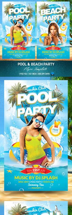 Pool Party Flyer Template  Party Flyer Flyer Template And Psd