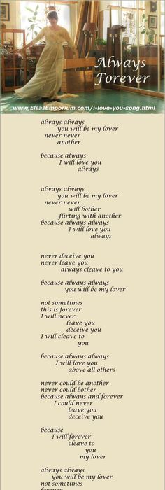 Romantic and tender A true I love you song ALWAYS FOREVER The - best of is invitation to tender