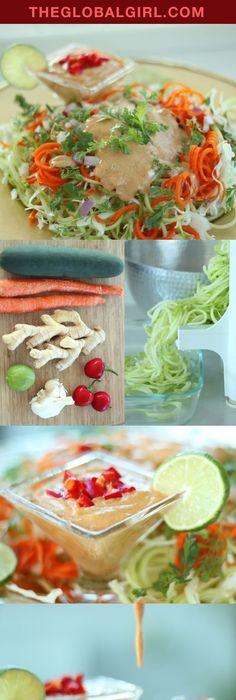 Raw vegan avocado basil sauce with zucchini noodles recipe basil cucumber pasta with indonesian peanut sauce raw vegan recipesvegan foodhealthy forumfinder Images