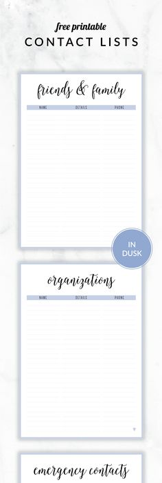 Printable Contact List Classy Free Printable Irma Contact Lists  Eliza Ellisincluding .