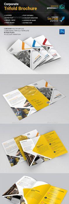 Corporate Trifold Brochure Template Vector Eps Ai Illustrator