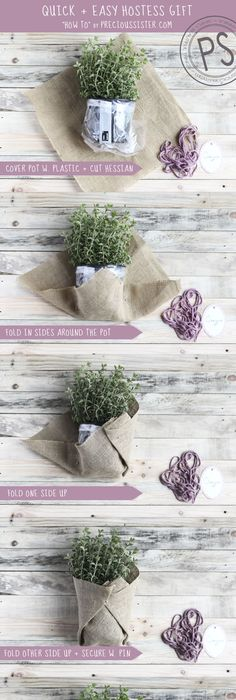 Easy easter hostess gift ideas wrapped gifts herbs and burlap blogpost super cute diy hostess gift negle Choice Image