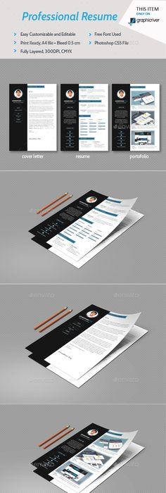 Resume, Portfolio  Cover Letter Templates by Rojola A Professional