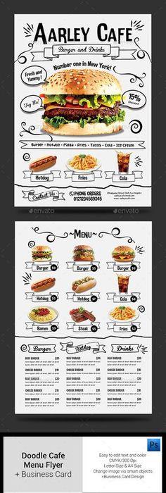 TriFold Brochure Snack Bar Menu  Menu Restaurant Tri Fold