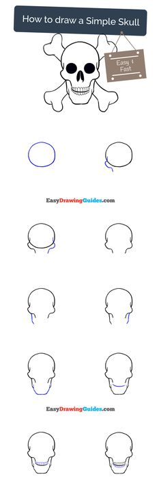 Easy Beginner Skull: How To Draw Skull Easy Printable Step By Step Drawing