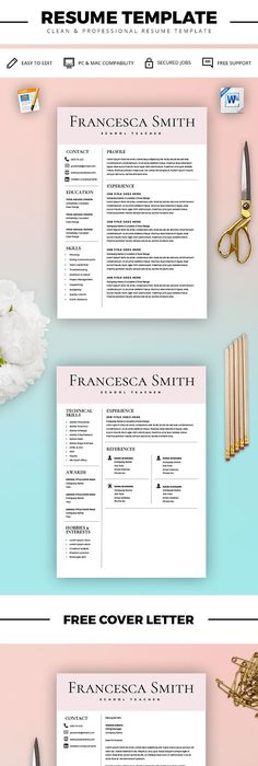 Resume Template Word Mac Extraordinary Resume Template  Cv Template With Cover Letter  Ms Word On Mac .