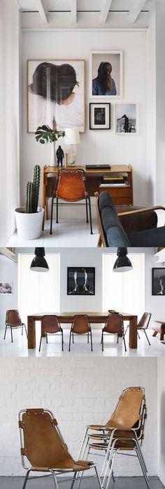 Chaise en acier finition cuir marron antique Vintage
