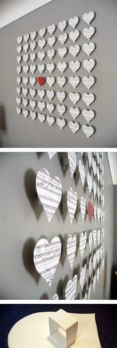 20 Extraordinary Smart DIY Paper Wall Decor [Free Template Included] Not  The Hearts, But The Art Using Sheet Music.