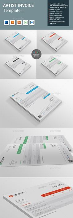 Invoice Excel Ai Illustrator Template And Brand Identity