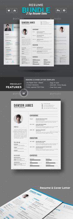 Cv Ai illustrator, Template and Resume cv