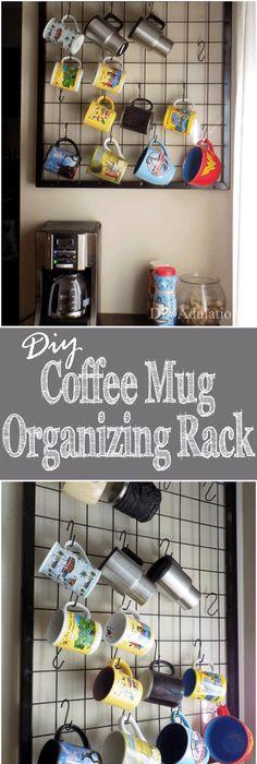 DIY Coffee Mug Organizing Rack :: Thrift Store Decor Upcycle Challenge Great Ideas