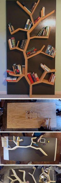 Make Your Very Own DIY Modern Wood Tree Bookshelf Thatu0027s Just Under 8 Feet  Tall.