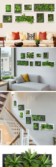 Hot 3d artificial potted plants home decoration nature wall hanger palor room decorative frame simulation wall