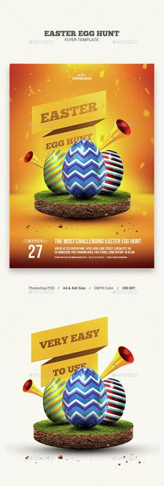 Easter Egg Hunt Flyer Template  Photoshop Psd Easter Flyer