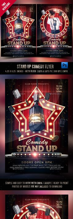 Stand Up Comedy Night Flyer Template  Comedy Nights Flyer