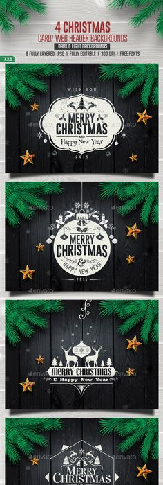Christmas Cards Pack | Christmas cards, Psd templates and Template