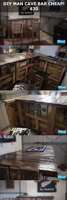 How to create a man cave garage man cave garage men cave and cave diy pallet bar on the cheap for the man cave cost 30 solutioingenieria Gallery