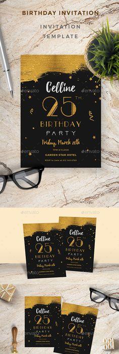 Elegant Birthday Invitation Photoshop, Elegant and Birthdays - birthday invitation card template photoshop