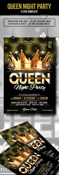 Queen Birthday Flyer  Photoshop Psd Template Disco  Download