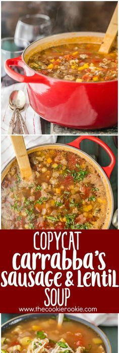 Copycat Carrabba's Sausage and Lentil Soup...your favorite restaurant  comfort food made easy