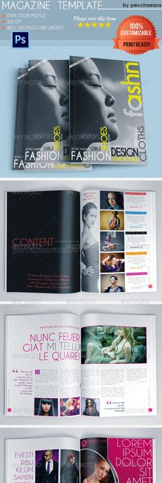 Magazine Mock up Print templates, Template and Layout design - fashion design brochure template