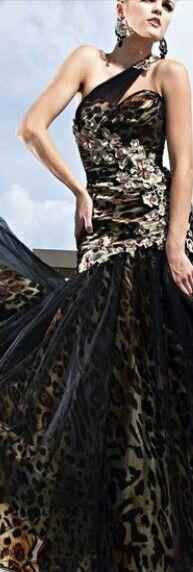 miss francesca couture leopard deep v prom dress
