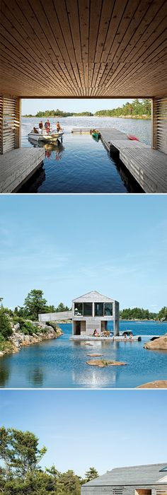 Fantastic Floating Lake House. Accessible Only By Boat Off A Small Island  In Lake Huron