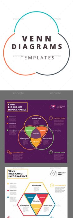 DiamondRectangle Venn Diagram Template  Graphic Design