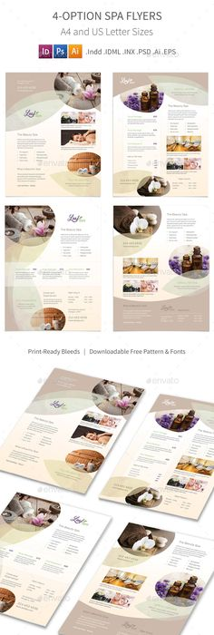 Spa  Wellness Trifold Template  Spa Template And Brochures