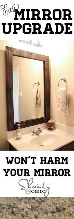 trim around bathroom mirror. Great Tutorial For Updating A Boring Bathroom Mirror! By Roberta Trim Around Mirror I