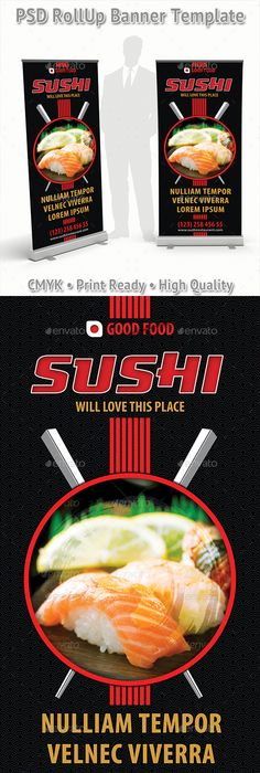 Sushi Restaurant Menu Door Hanger V  Sushi Restaurants Door