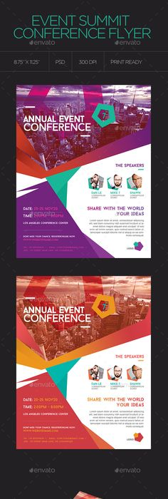 Event Summit Conference Flyer  Speakers Photoshop And Corporate