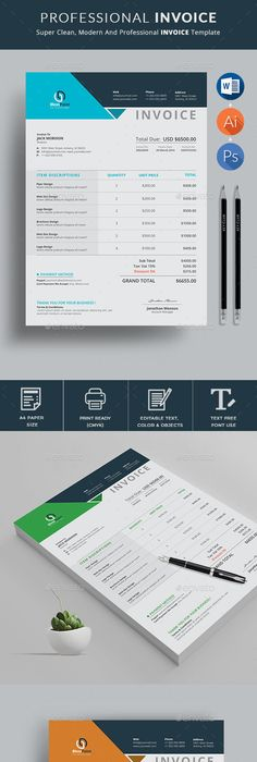 Printable Invoice Template  Ms Word Receipt Template  Photoshop
