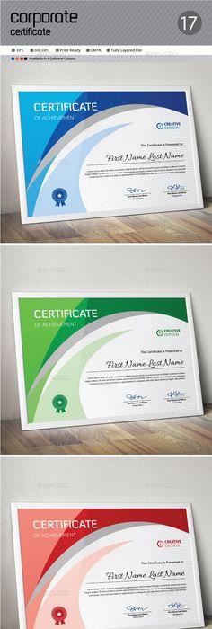 Certificate Certificate, Template and Modern - corporate certificate template