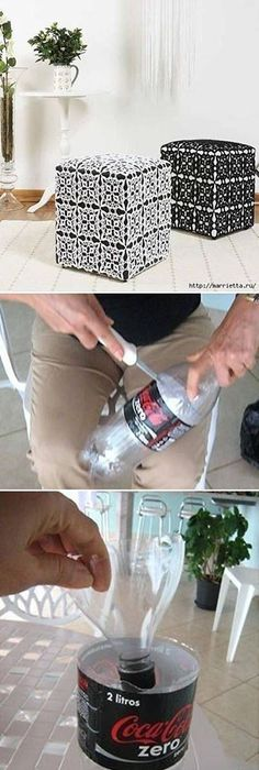 DIY Ottoman Out Of Plastic Bottles Projects I Will Have To Try With Coffee Cans