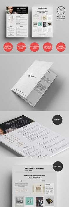 2 Page Resume Template + Cover Letter MS Word Template A4