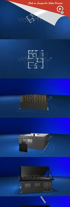 Light bulb explosion logo reveal 3d animation architecture blue blueprint house business construction malvernweather Gallery